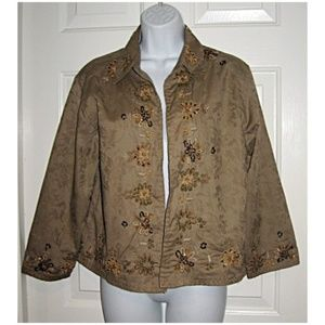 Gypsy Chic Boho Beaded Jacket Taupe Gold Bronze M